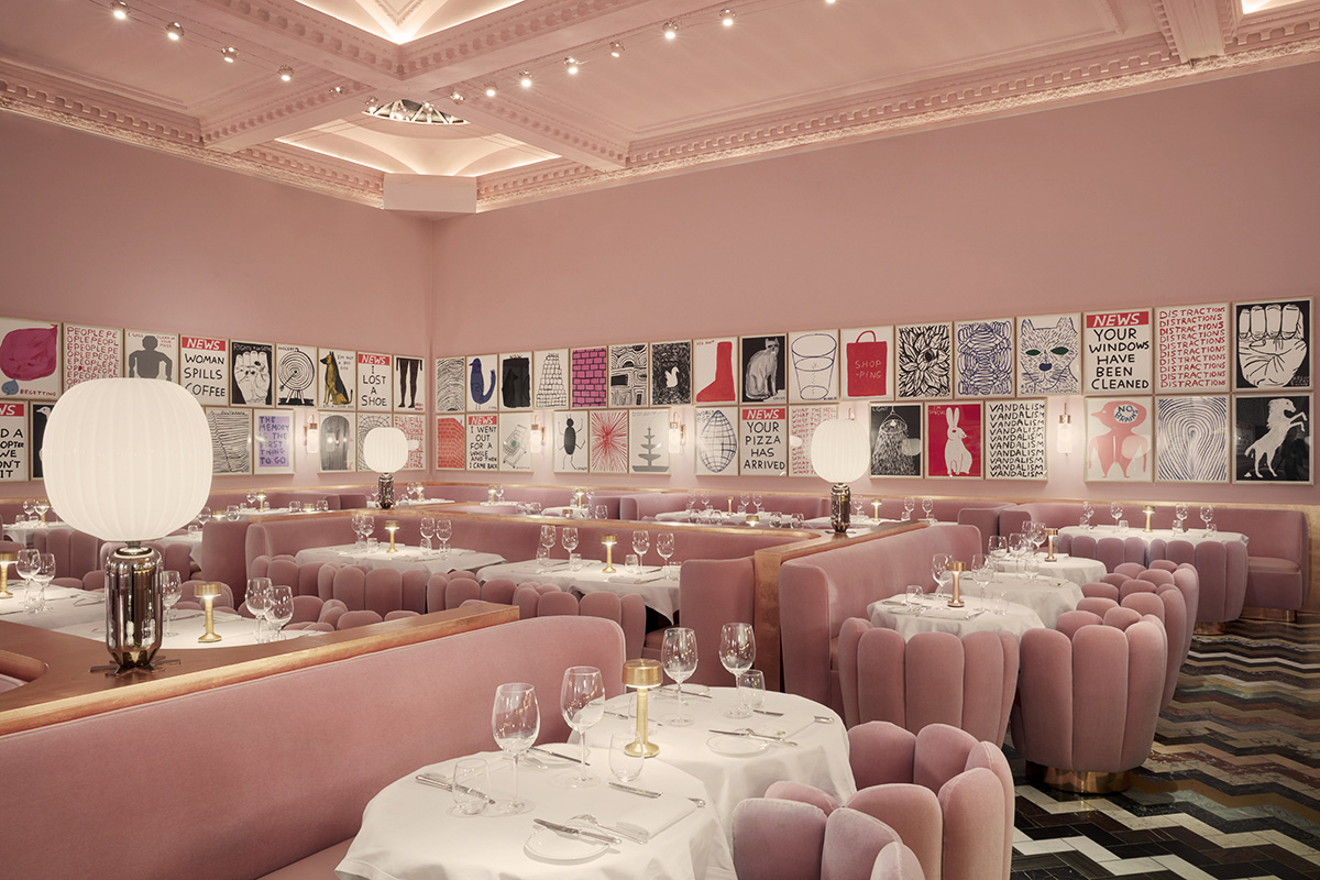 Photographie inspiration décoration  tendance rose restaurant Londres